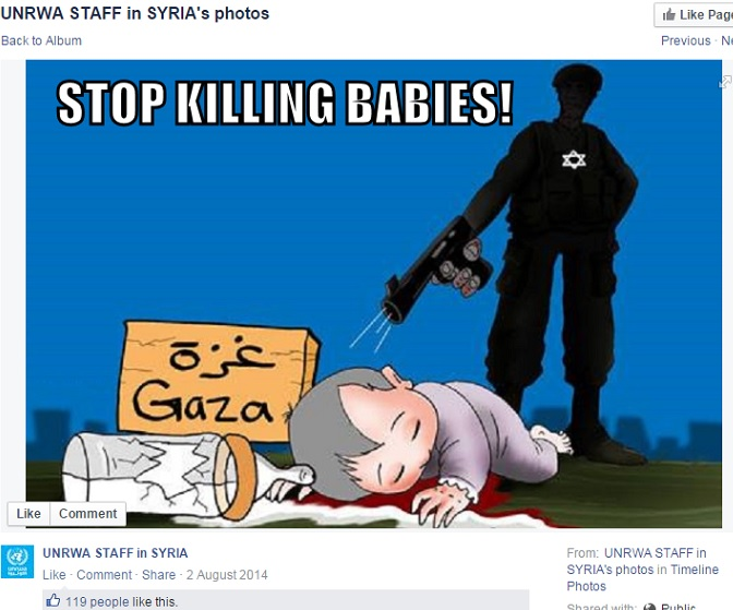 UNRWA staff in Syria - Screenshot - Cartoon and UNRWA link - Killing babies and milk